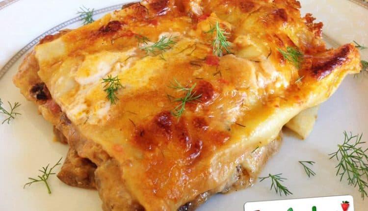 Pasticcio di lasagne, pesce spada, melanzane e finocchietto