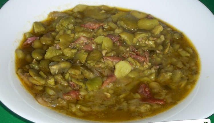 Zuppa di fave con il prosciutto