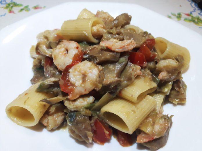 Pasta con Carciofi e Gamberetti