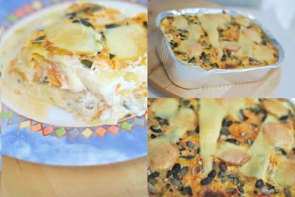 Lasagne con fonduta di formaggi e crema di zucca