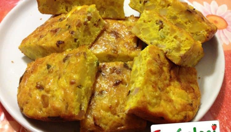 Frittata di patate, cipollotti e pancetta