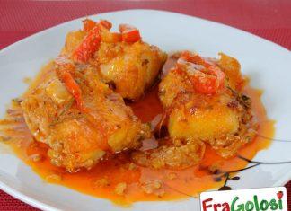 Filetti di platessa in salsa di peperoni