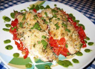 Sgombro al forno con pomodorini e salsa al basilico
