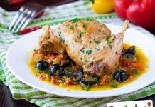 Coniglio con porcini ed olive nere