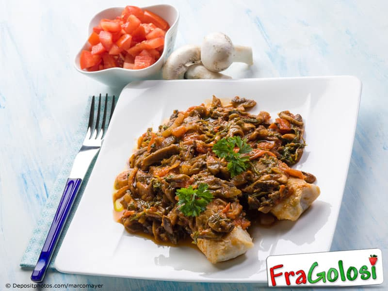 Bocconcini di merluzzo con olive e funghi