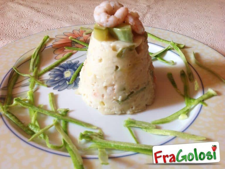 Sformatino di riso, zucchine e gamberetti
