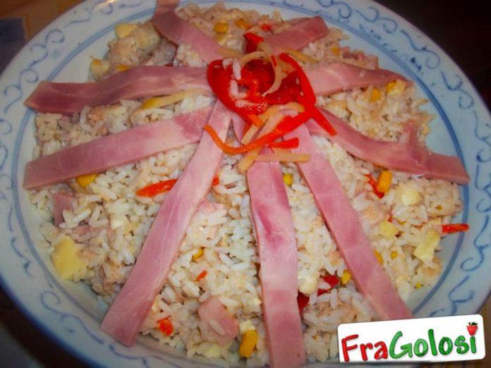 Insalata di riso e prosciutto cotto