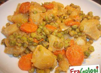 Contorno di patate carote e piselli