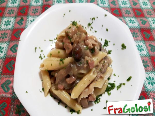 Pasta Funghi e Pancetta