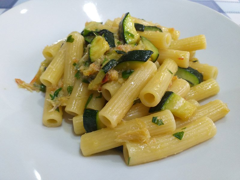 Pasta con Zucchine e Polpa di Granchio