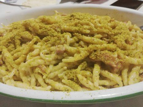 Pasta con Pistacchi e Pancetta
