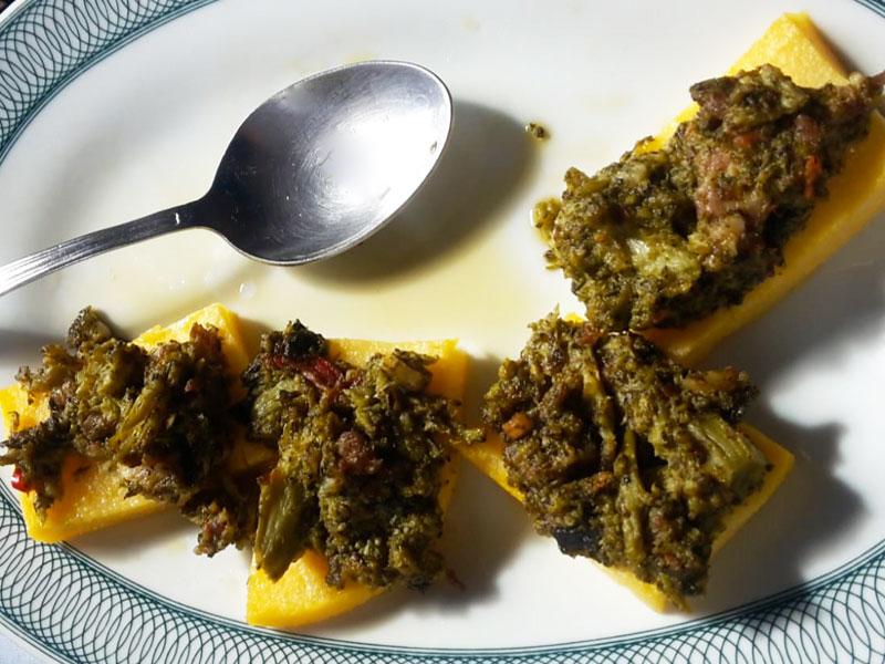 Polenta con Broccoli e Pancetta