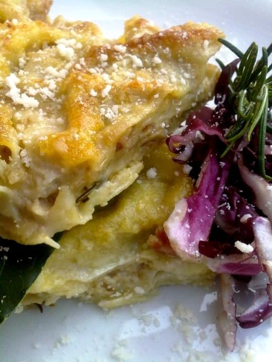 Lasagne con crema di radicchio, mandorle e pancetta affumicata - Inviata da Matteo Ghigino